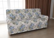 Чехол для трехместного дивана: «Фантазия» цвет Весенний букет, модель с юбкой